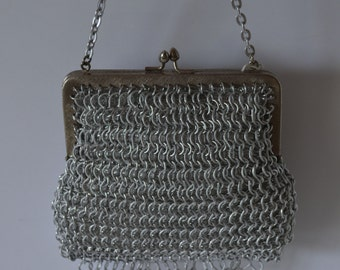 Small silver silk brocade handbag, wedding purse, 1970s vintage Japanese bridal or evening bag