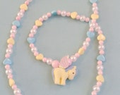 Kawaii Fantasia - Fuzzy Baby Pegasus Necklace with Pastel Hearts and Pearl Beads