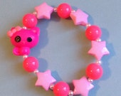 Lalaloopsy Pink Kitty Cat Stretch Bracelet with Pastel Stars and Neon Beads