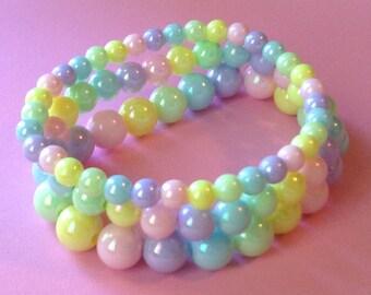 Pastel Rainbow Iridescent Pearl Stretch Bracelet - Set of 3