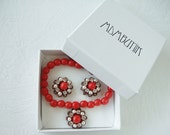 Crystal Jewelry Set in Gift Box. Red Bead Charm Bracelet & Crystal Earrings. Valentines Day Gift Ideas. Gift for Her Valentines Day Gifts