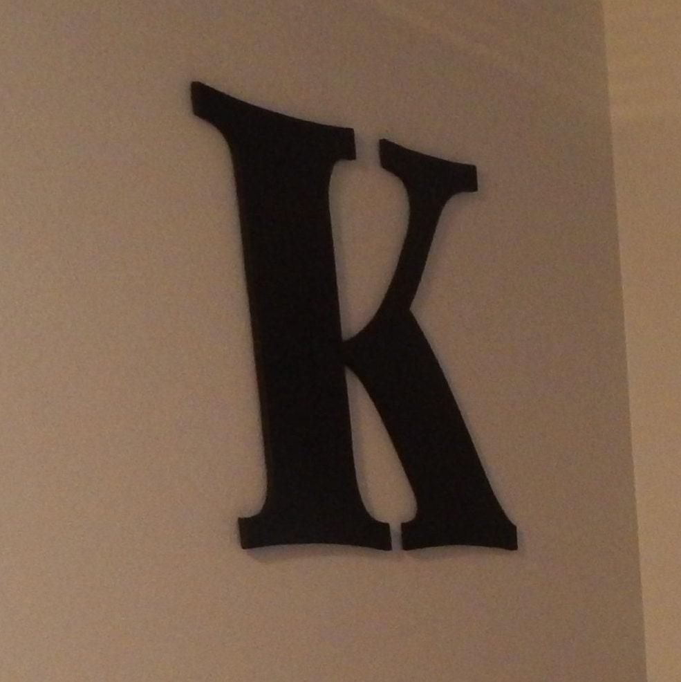Oversized letter wooden letters k 24 inch black sign large for Large wooden letter k