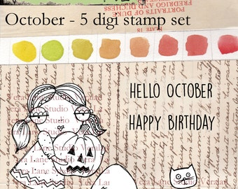October - whimsical girl digi stamp to celebrate October.  Five digi stamp set