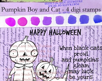 Pumpkin Boy and Cat - Whimsical and quirky Halloween inspired digi stamp set