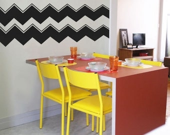 Accented Chevron Stripes  Wall Decal Custom Vinyl Art Pattern Stickers For  Nurseries, Bedrooms,
