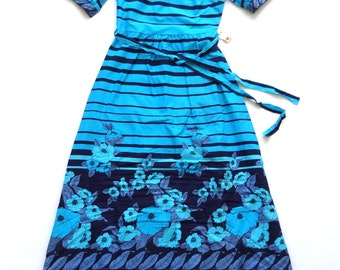 Vintage 70's French Floral / Stripe Print Maxi / Evening Dress UK Size 10 New With Tags