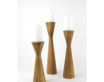 Set of 3 Wooden Candle Holder / Modern