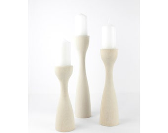 Set of 3 Wooden Candle Holder / Modern