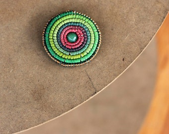 Leather Brooch Painted Pink Green Rosette