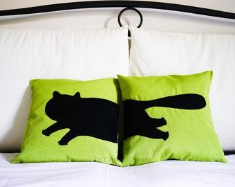 Personalized cat pillow, cartoon pillow, cat lovers, greenery, pillow pets, dorm pillow, cojín del sofá, cat cushion, pillow set