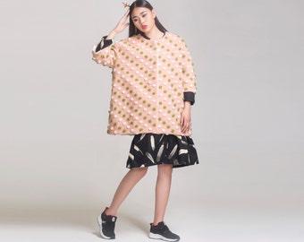 pink dot wool coat cashmere cape coat pink jacket oversize jacket oversize coat