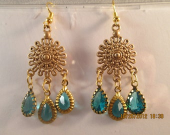 SALE Gold Tone Chandelier Earrings with Gold Tone and Blue Teardrop Dangles