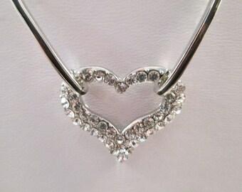 SALE Silver Tone and Clear Rhinestone Heart Pendant on a Silver Tone Chain