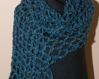 Blue-Green Colored Open Weave Shawl With Fringe