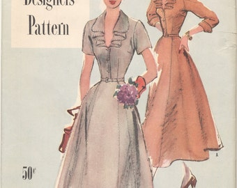 Vintage 1949 Simplicity Designers Pattern 8097 Misses Dress Size 20 Bust 38--FACTORY FOLDED