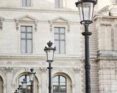 Paris lamp post photograph, Louvre photos, paris architecture, art deco, pastel, white, ornate, travel photo, wanderlust, museum photos