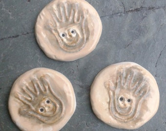 3 Ceramic Buttons Healing Hand Clay Shaman Hands Reiki Natural Stone Pottery Buttons Sewing Knitting Notions