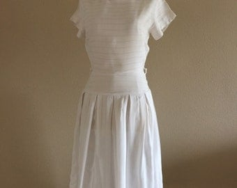 50s Simple Classic White Summer Dress