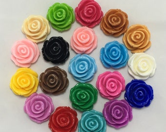 Large Rose Cabochons, Resin Flat Back Flowers, 23mm Wide, Mixed Colors