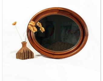 Antique Wood Oval Mirror - Victorian Picture Frame - Walnut - Tongue and Groove - 1800s