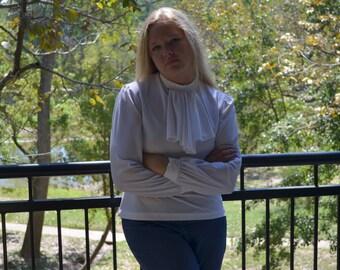 White Blouse, Long-Sleeved White Shirt, Size 12, Women's Vintage Shirt, Pullover Blouse, Pure White White, Anthony Richards Ruffled Shirt