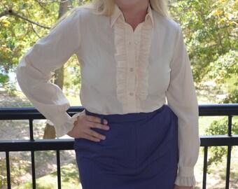 Women's Off White Blouse, Size 10, Button Up Shirt, Ladies' Vintage Shirt, Jo Hardin Shirt With Ruffles, Women's Vintage Cream Blouse