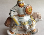 Russian majolica bogatyr warrior on rocking horse - beautiful and collectible - hand-painted! soldier -ceramic - pastels