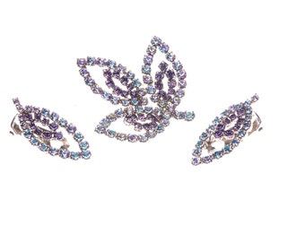 Blue & Lavender Faux Alexandrite Color Changing Brooch Earrings Rhinestone Western Germany