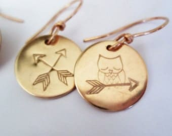 Crossed Arrows Owl Earrings Hand Stamped Bronze Mismatched Bird Rose Gold Dangles Metalsmith Jewelry Petite Minimalistic Metalwork