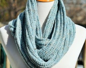Crochet Textured Infinity Scarf - Light Blue Tweed - Serenity Blue