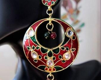 Minakari 'Bali' Earrings in Red and Green
