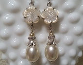 VINTAGE BRIDAL EARRING Assemblage White Silver Pearls Crystals Mother of Pearl Flowers Sparkle Detail Unique Classic Elegant One of a Kind