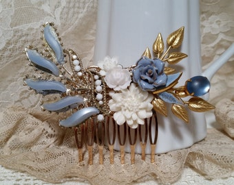 VINTAGE BRIDAL Hair Comb Assemblage Bride Wedding Hair Accessories Something Blue White Dusty Grey Blue Periwinkle Rhinestone One of a Kind