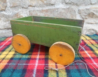 Vintage Rustic Wood Toy Cart Old Chippy Green and Yellow Paint Handmade Folk Art Centerpiece Box