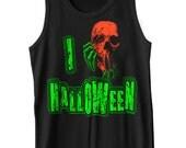 I Love Halloween Tank Top Scary Neon Florescent Skull Costume Horror Geek Geekery Punk Rock Tank Tee Shirt Tshirt XS-2XL
