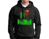 I Love Halloween Hoodie Scary Neon Florescent Skull Horror Punk Rock Trick or Treat Hoodie Costume Adult Mens Womens S-2XL Great Gift Idea