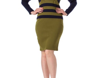 1960s Knit Green Olive and Navy Bodycon Wool Dress
