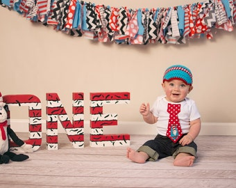 Baby boy tie one piece bodysuit and crochet hat set, cat and the hat, Dr. Seuss, photo prop, first birthday outfit