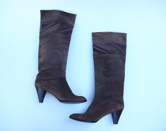 80s brown suede little heel knee high boots with snake skin detail
