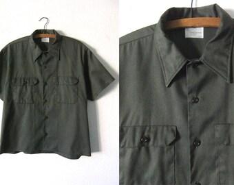 Big Mac vintage Army Shirt - Minimalist Olive Green Military Work Wear Super Soft Boxy fit Button Down - Mens Large