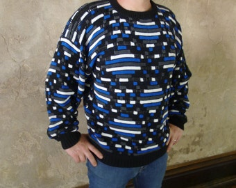 80s Jordache Sweater, Winter Sweater Blue & Black Fall Sweater