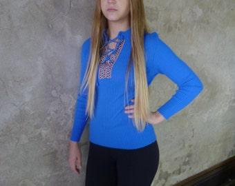 Vintage 70s Boho Long Sleeve Blue Sweater, hippie festival size small medium, lace up ethnic sweater