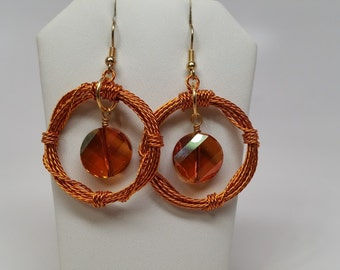 Copper Twisted Wire Wreath Earrings - Swarovski, Crystal, Circle, Hoop, Fall, Autumn, Wire Wrapped, Red, Gold, Orange