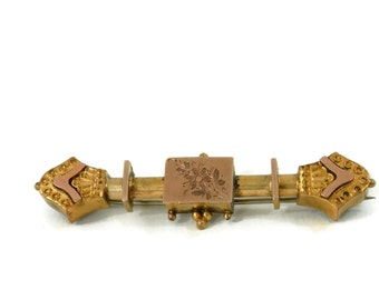 18K Georgian Etruscan Bar Pin with Rose Gold Accents