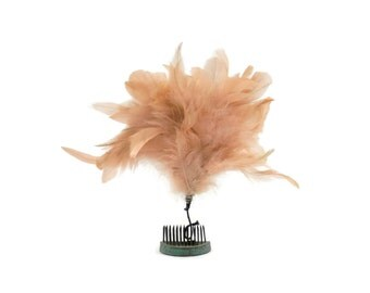 Antique Pale Pink Feather Topper or Pom Pom