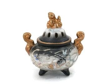Japanese Incense Burner Porcelain Moriage Dragonware