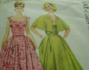 Vintage 1950's McCall's 5289 Hannah Troy Dress and Cape Jacket Sewing Pattern, Size 12, Bust 33