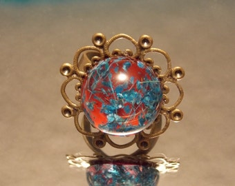 Red and Blue Dried Flower Ring