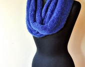 super fluffy and soft knit infinity scarf/shawl, electric blue mohair, colorful, elegant, for women and girls, gift idea