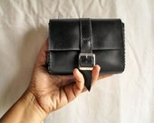 Small black leather clutch with metal buckle for bike, belt, make up, wallet, handmade ONE OF A KIND gift idea for men and women and girls